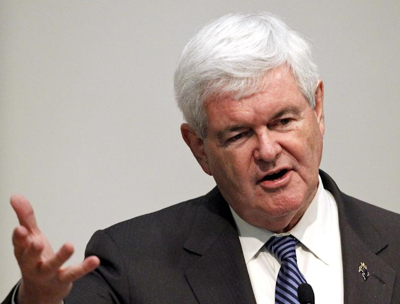 Republican presidential candidate, former House Speaker Newt Gingrich speaks to the Hood College Republicans during a campaign stop at Hood College in Frederick, Md., Monday, April 2, 2012. (AP Photo/Ann Heisenfelt)