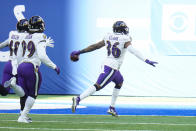 Baltimore Ravens strong safety Chuck Clark (36) heads to the end zone for a touchdown on a fumble recovery against the Indianapolis Colts in the first half of an NFL football game in Indianapolis, Sunday, Nov. 8, 2020. (AP Photo/AJ Mast)