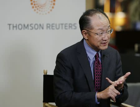 World Bank Group President Jim Yong Kim is interviewed at the Reuters Global Climate Change Summit in Washington