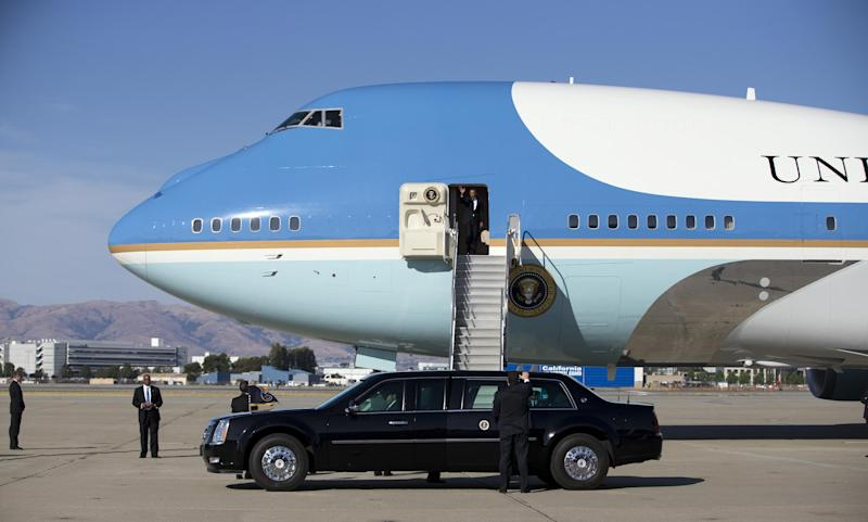 President Barack Obama arrives at Moffett Federal Airfield on Thursday, June 6, 2013, in Mountain View, Calif. Obama is traveling in California for two fundraisers ahead of his meeting with Chinese President Xi Jinping. (AP Photo/Evan Vucci)