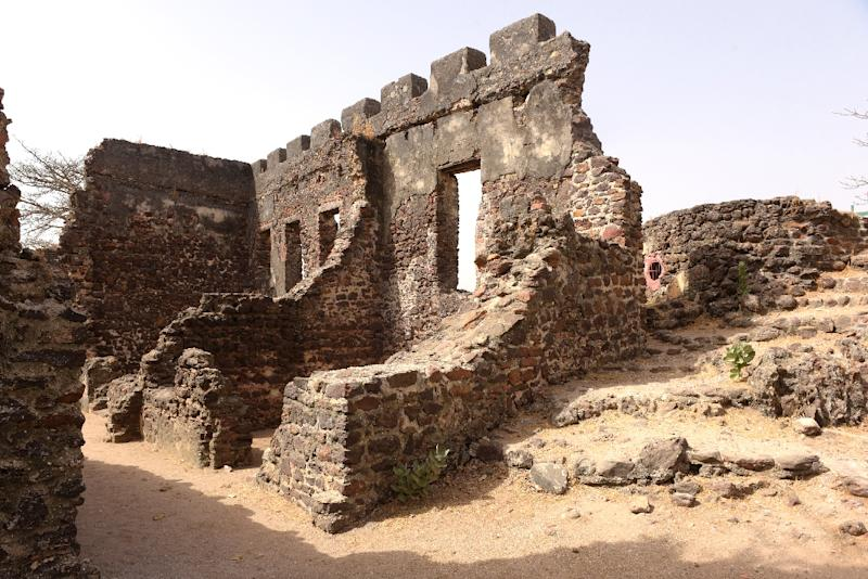 The remains of buildings on Kunta Kinteh island in the Gambia River, previously used for the slave trade (AFP Photo/SEYLLOU)