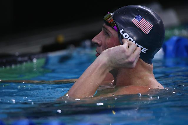 AUSTIN, TX - JANUARY 15: Ryan Lochte after swimming in the Men's 100 meter freestyle during the Arena Pro Swim Series at Austin on January 15, 2016 in Austin, Texas. (Photo by Ronald Martinez/Getty Images)
