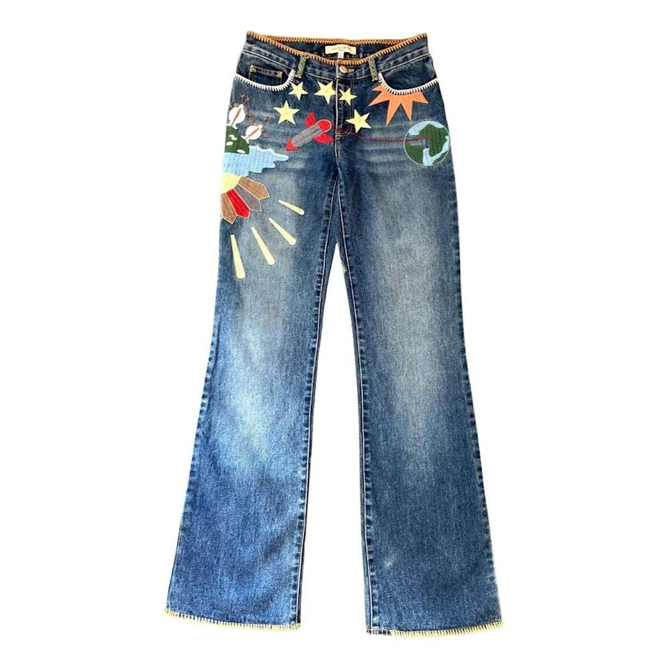 <p>These <span>See By Chloé Blue Denim Jeans</span> ($85) from Vestiaire Collective are embroidered with a kitschy pattern that'd be totally cool to wear now.</p>