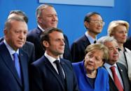 US Secretary of State Mike Pompeo stands in the back at a January 2020 conference in Berlin on Libya, with French President Emmanuel Macron, Turkish President Recep Tayyip Erdogan an German Chancellor Angela Merkel in the front