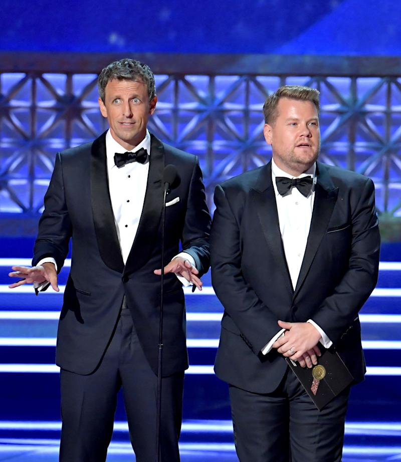 TV personalities Seth Meyers and James Corden speak onstage during the 69th Annual Primetime Emmy Awards at Microsoft Theater on Sept. 17, 2017 in Los Angeles, California.