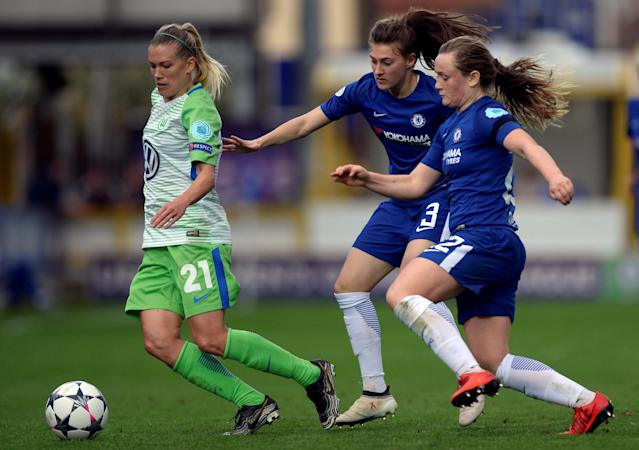Soccer Football - Women's Champions League Semi Final First Leg - Chelsea v VfL Wolfsburg - The Cherry Red Records Stadium, London, Britain - April 22, 2018 Wolfsburg's Lara Dickenmann in action with Chelsea's Hannah Blundell and Erin Cuthbert Action Images via Reuters/Adam Holt
