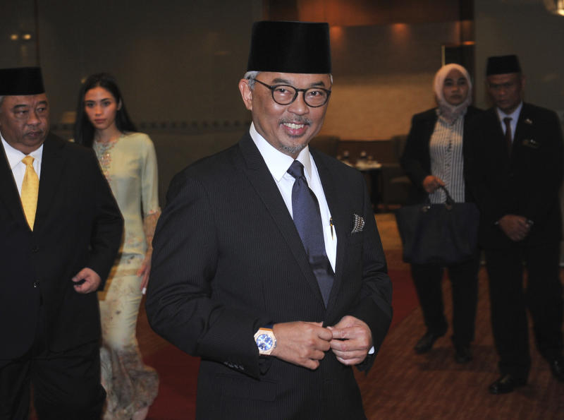 In this Jan. 11, 2019, photo, Pahang state Crown Prince Tengku Abdullah arrives for a private event at a hotel in Kuala Lumpur. The central Malaysian state of Pahang is getting a new sultan who is tipped to become the country's next king under a unique rotating monarchy system. The national Bernama news agency reported that the Pahang palace announced Saturday, Jan. 12, that Tengku Abdullah, currently the regent of Pahang, will succeed Sultan Ahmad Shah on Tuesday, Jan. 15.(AP Photo)