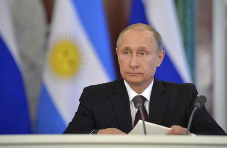 Russian President Putin attends signing ceremony on results of Russian-Argentinian talks at Kremlin in Moscow