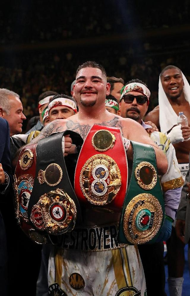 Ruiz was born in San Diego but considers himself Mexican first and is now the first heavyweight champion of Mexican descent (AFP Photo/AL BELLO)