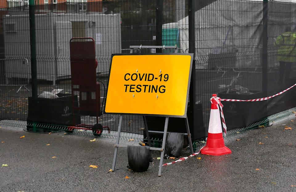 A Covid-19 testing centre in Forest Fields Park and Ride in Nottingham, UK on Friday October 23, 2020.