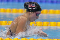 Emma Weyant, of United States, swims in the final of the women's 400-meter Individual medley at the 2020 Summer Olympics, Sunday, July 25, 2021, in Tokyo, Japan. (AP Photo/Martin Meissner)