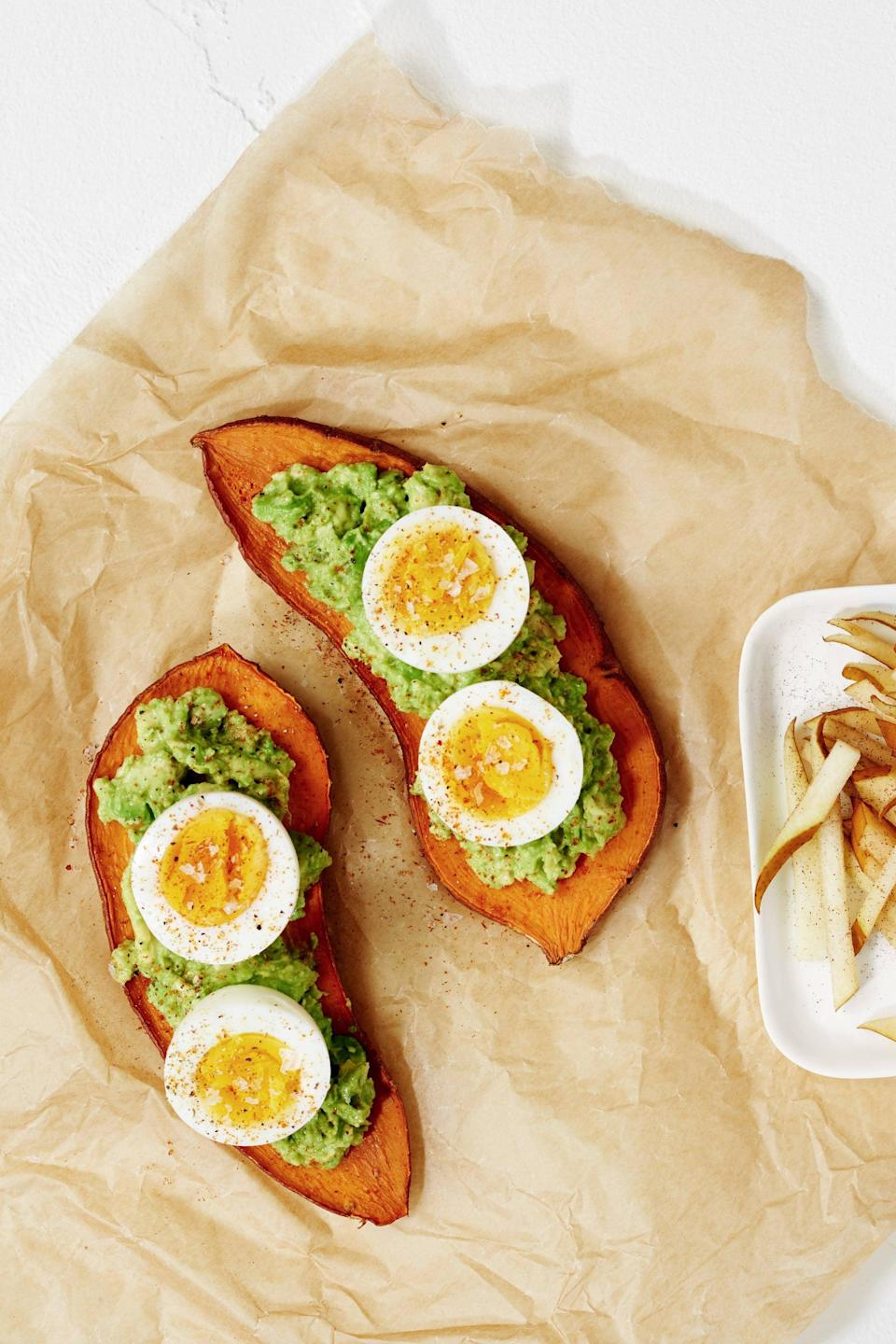 "<p>This sweet potato toast is a delicious way to add veggies to your breakfast.</p> <p><strong>Calories:</strong> 328<br> <strong>Protein:</strong> 9.1 grams</p> <p><strong>Get the recipe:</strong> <a href=""https://www.popsugar.com/fitness/Sweet-Potato-Toast-Avocado-Egg-Recipe-42779491"" class=""link rapid-noclick-resp"" rel=""nofollow noopener"" target=""_blank"" data-ylk=""slk:avocado sweet potato toast"">avocado sweet potato toast</a></p>"