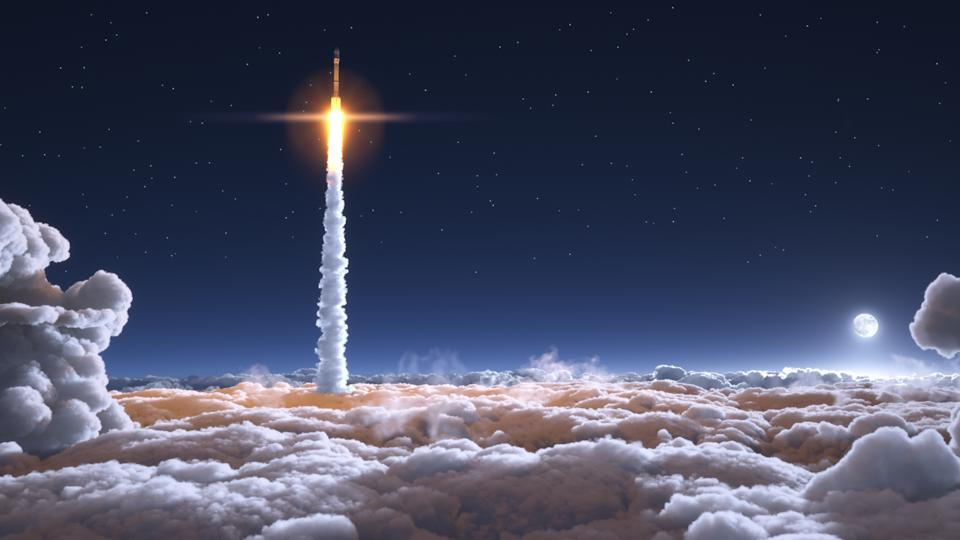 Rocket flies through the clouds on moonlight 3d illustration