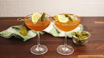 """<p>The best shot and chaser combo all in one.</p><p>Get the recipe from <a href=""""https://www.delish.com/cooking/recipe-ideas/recipes/a56103/pickle-juice-whiskey-sours-recipe/"""" rel=""""nofollow noopener"""" target=""""_blank"""" data-ylk=""""slk:Delish"""" class=""""link rapid-noclick-resp"""">Delish</a>.</p>"""
