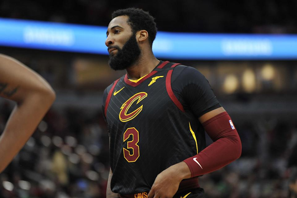 The Cavaliers' Andre Drummond looks on during the first half of a  game against the Chicago Bulls in March.