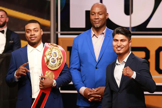 (L-R) Errol Spence Jr., Lennox Lewis and Mikey Garcia attend Fox Sports and Premier Boxing Champions Press Conference Experience on Nov. 13, 2018 in Los Angeles. (Photo by Leon Bennett/Getty Images)