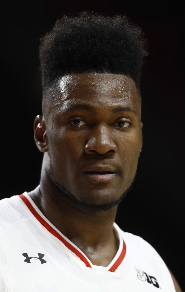 FILE - In this Dec. 11, 2018, file photo, Maryland forward Bruno Fernando, of Angola, stands on the court during an NCAA college basketball game against Loyola-Maryland, in College Park, Md. The Maryland sophomore is a first-round prospect in the NBA Draft. (AP Photo/Patrick Semansky, File)