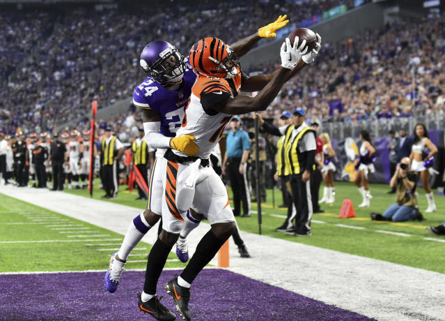 <p>Minnesota Vikings defensive back Tramaine Brock (24) breaks up a pass intended for Cincinnati Bengals wide receiver A.J. Green during the second half of an NFL football game, Sunday, Dec. 17, 2017, in Minneapolis. The Vikings won 34-7. (AP Photo/John Autey) </p>