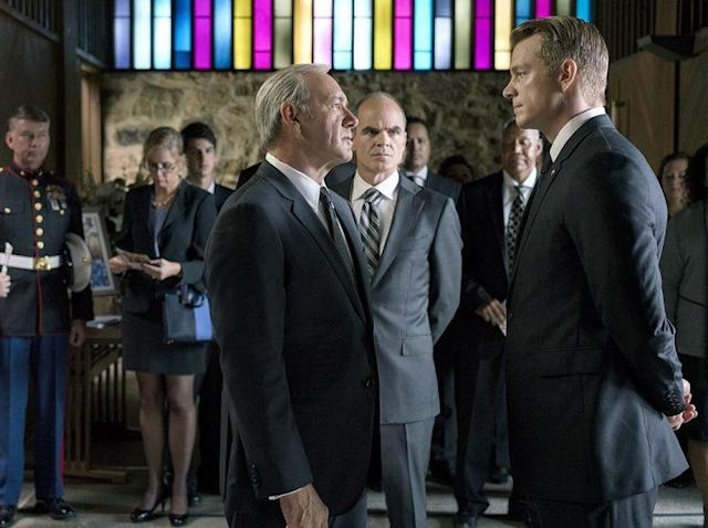 Kevin Spacey as Frank Underwood, Michael Kelly as Doug Stamper, and Joel Kinnaman as Will Conway in Netflix's <em>House of Cards</em>. (Photo: David Giesbrecht)