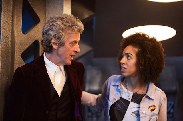 Peter Capaldi (left), shown here with Pearl Mackie in <em>Doctor Who</em>, will be leaving the show at the end of 2017. (Photo: Simon Ridgway / BBC-America / Courtesy: Everett Collection)
