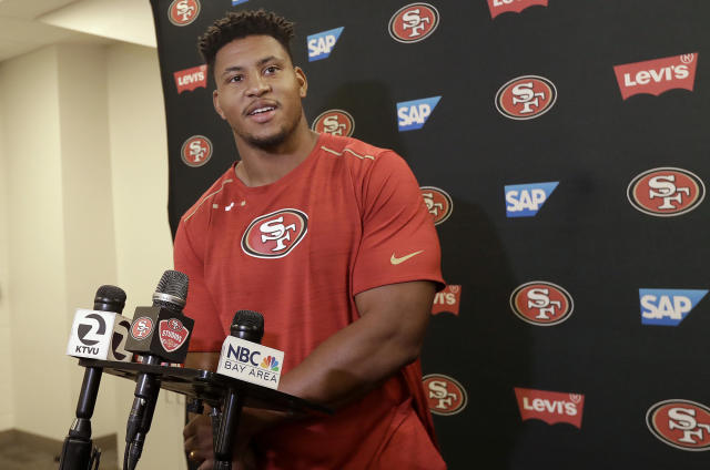 San Francisco 49ers linebacker Malcolm Smith speaks to reporters at the team's football facility in Santa Clara, Calif., Monday, April 23, 2018. (AP Photo/Jeff Chiu)