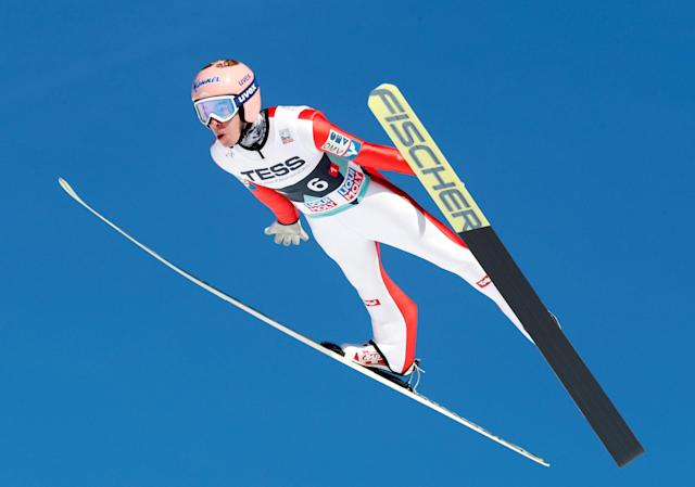 Ski Jumping - FIS World Cup - Men's Team - Vikersund, Norway - March 17, 2018. Stefan Kraft of Austria in action. NTB Scanpix/Terje Bendiksby via REUTERS ATTENTION EDITORS - THIS IMAGE WAS PROVIDED BY A THIRD PARTY. NORWAY OUT. NO COMMERCIAL OR EDITORIAL SALES IN NORWAY.