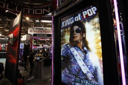 Portrait of Michael Jackson is displayed on a slot machine at Gaming Expo Asia in Macau