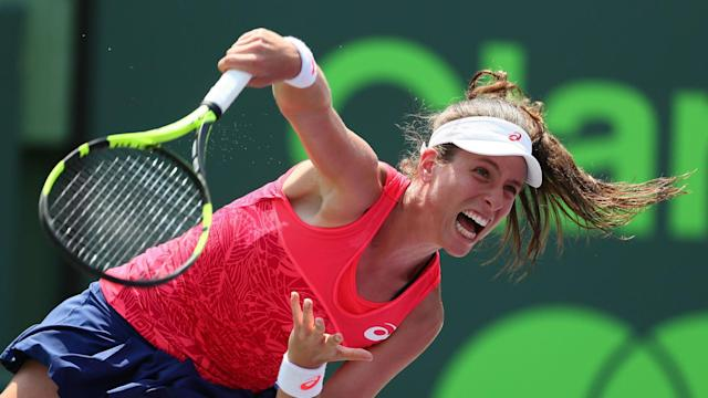 Caroline Wozniacki had no answer to Johanna Konta's power as the Briton secured the Miami Open title on Saturday, sealing a top-10 return.