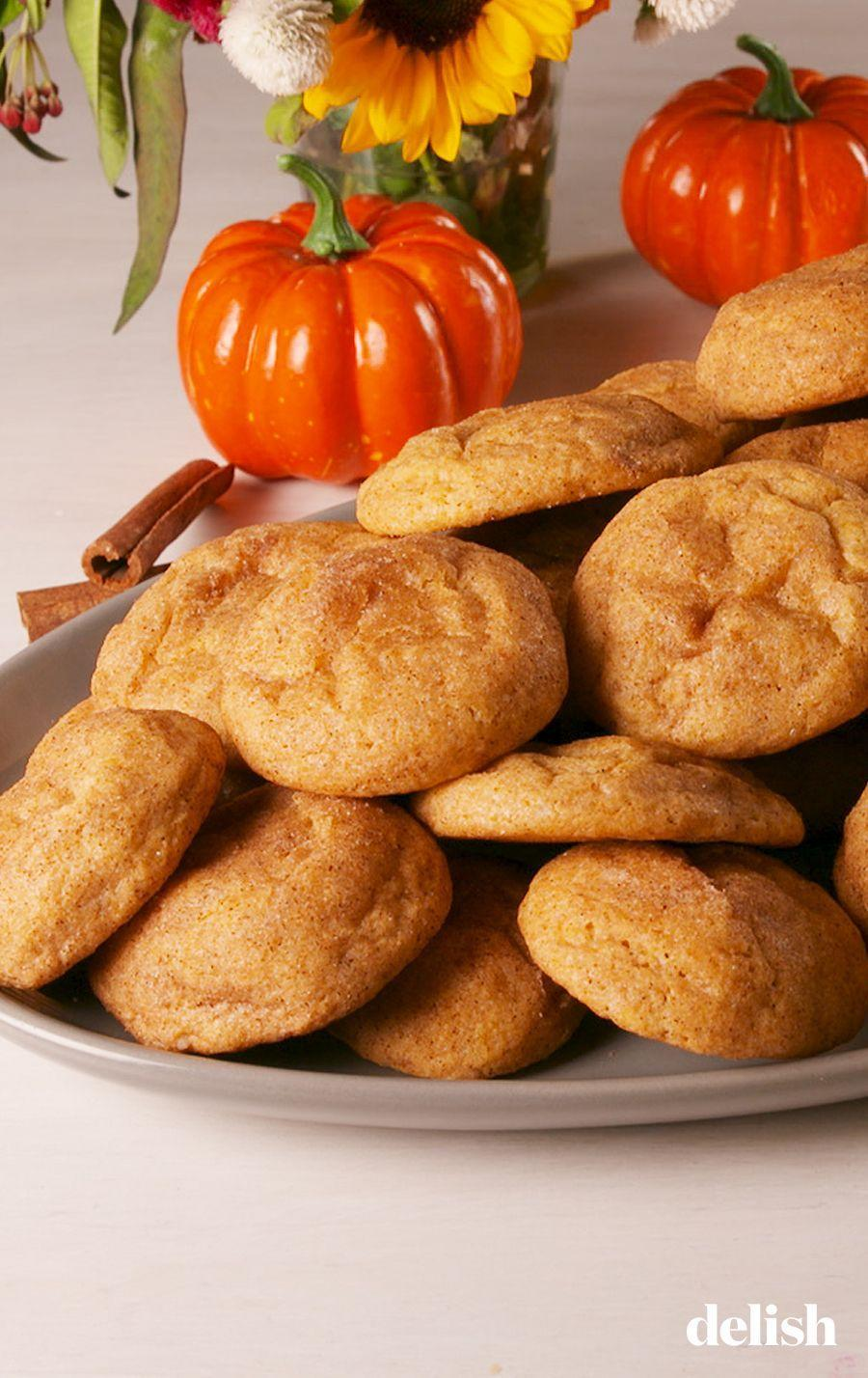 """<p>Pumpkin snickerdoodles are everything we dreamed they could be. Slightly chewy, tangy, and full of cinnamon and pumpkin. Go ahead an make a double batch. </p><p>Get the recipe from <a href=""""https://www.delish.com/cooking/recipe-ideas/a23941394/pumpkin-snickerdoodles-recipe/"""" rel=""""nofollow noopener"""" target=""""_blank"""" data-ylk=""""slk:Delish"""" class=""""link rapid-noclick-resp"""">Delish</a>.</p>"""