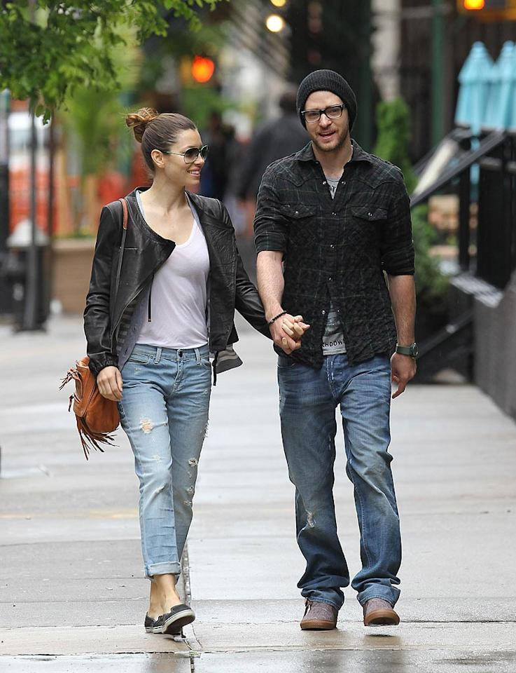 "Although breakup rumors constantly swirl around them, Jessica Biel and Justin Timberlake looked quite happy (for once) while strolling hand in hand through NYC. <a href=""http://www.infdaily.com"" target=""new"">INFDaily.com</a> - May 3, 2010"