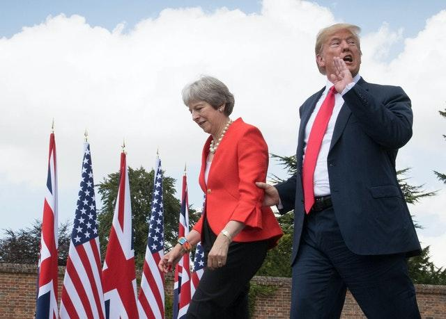 Former prime minister Theresa May with Mr Trump