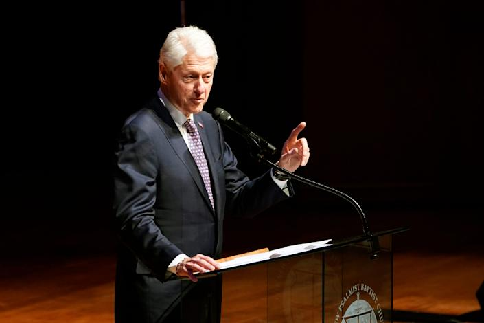 Former President Bill Clinton speaks during funeral services for the late Rep. Elijah Cummings, D-Md., at the New Psalmist Baptist Church on Oct. 25, 2019, in Baltimore, Maryland.