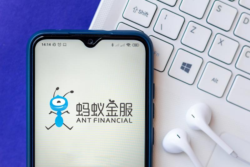 BRAZIL - 2020/07/26: In this photo illustration the Ant Financial Services Group logo seen displayed on a smartphone. (Photo Illustration by Rafael Henrique/SOPA Images/LightRocket via Getty Images)