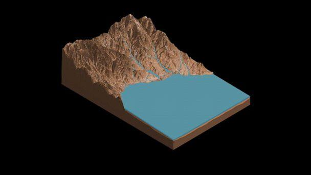 PHOTO: This animation demonstrates the salty ponds and streams that scientists think may have been left behind as Gale Crater dried out over time. The bottom of the image is the floor of Gale Crater, with the peak being the side of Mount Sharp. (ASU Knowledge Enterprise Development (KED), Michael Northrop )