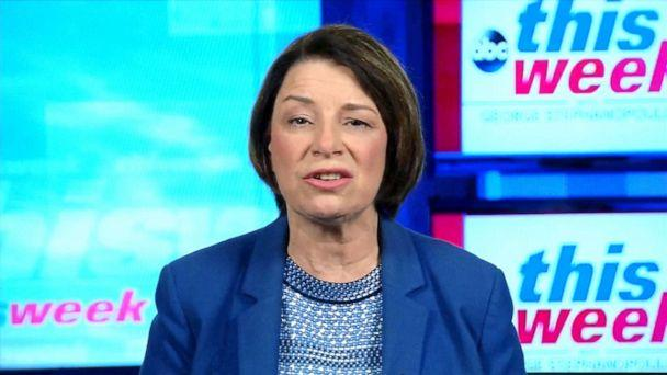 PHOTO: Democratic presidential candidate Amy Klobuchar appears on 'This Week With George Stephanopoulos,' Sept. 15, 2019. (ABC News)