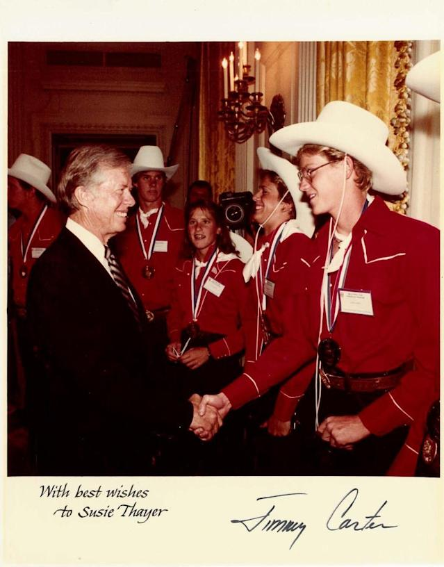 Members of the 1980 Summer Olympic team, including Susie Thayer (far right), were invited to Washington for a meet and greet with President Jimmy Carter. (Courtesy of Susie Thayer)