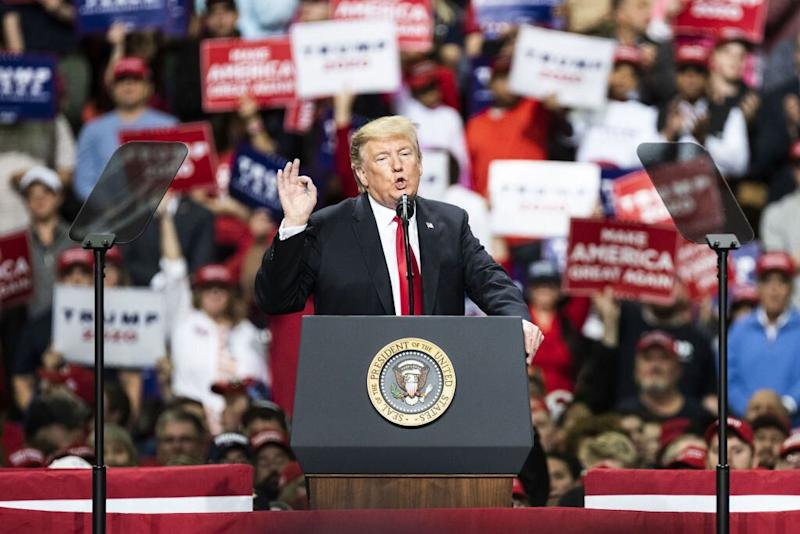 US president Donald Trump speaks during a rally in Green Bay, Wisconsin, on Saturday (Picture: Getty)