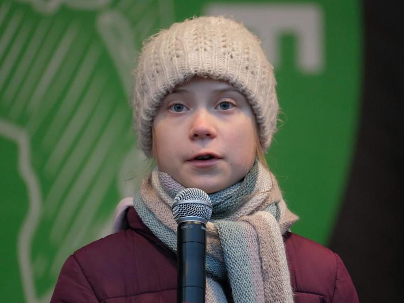 Teenage climate activist Greta Thunberg speaks at a Fridays for Future climate protest on 21 February 21 2020 in Hamburg Germany: Getty