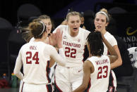 Stanford forward Cameron Brink (22) is congratulated by teammates after scoring against Oregon State during the second half of an NCAA college basketball game in the semifinal round of the Pac-12 women's tournament Friday, March 5, 2021, in Las Vegas. (AP Photo/Isaac Brekken)