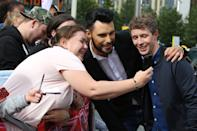 LONDON, ENGLAND - JULY 09: Rylan Clarke and Matt Edmondson arrive for X Factor auditions at Wembley Arena on July 9, 2016 in London, England. (Photo by Neil Mockford/Getty Images)