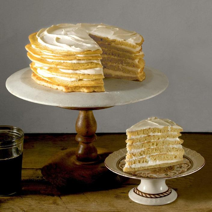 """Skillet-cooked pancakes are stacked high with a cream cheese and yogurt filling in between the layers. A drizzle of maple syrup completes the dessert. <a href=""""https://www.epicurious.com/recipes/food/views/pancake-cake-with-maple-cream-frosting-51196630?mbid=synd_yahoo_rss"""" rel=""""nofollow noopener"""" target=""""_blank"""" data-ylk=""""slk:See recipe."""" class=""""link rapid-noclick-resp"""">See recipe.</a>"""