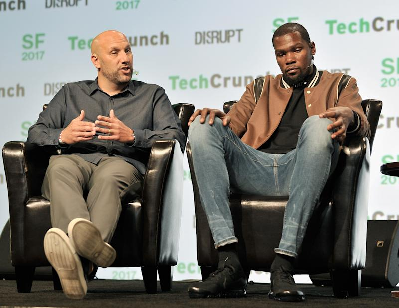 SAN FRANCISCO, CA - SEPTEMBER 19: Durant Company/Thirty Five Media Partner Rich Kleiman (L) and NBA Player and Durant Company/Thirty Five Media Partner Kevin Durant speak onstage during TechCrunch Disrupt SF 2017 at Pier 48 on September 19, 2017 in San Francisco, California. (Photo by Steve Jennings/Getty Images for TechCrunch)