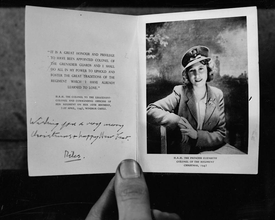 <p>This card was signed by the then Princess Elizabeth (later Queen Elizabeth II) to the Grenadier Guards regiment of the British Army during World War II. </p>