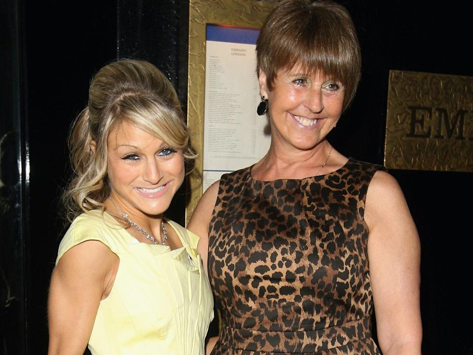 Nikki Grahame and her mother pictured at her 2009 book launch for Dying To Be Thin, a memoir about her eating disorder. Her mother said last month that she had relapsed during the pandemic when gyms had shutGetty Images