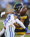 Dallas Cowboys defensive back Darian Thompson (23) breaks up a pass intended for Pittsburgh Steelers wide receiver Chase Claypool (11) during the first half of the Pro Football Hall of Fame NFL preseason game Thursday, Aug. 5, 2021, in Canton, Ohio. (AP Photo/Ron Schwane)