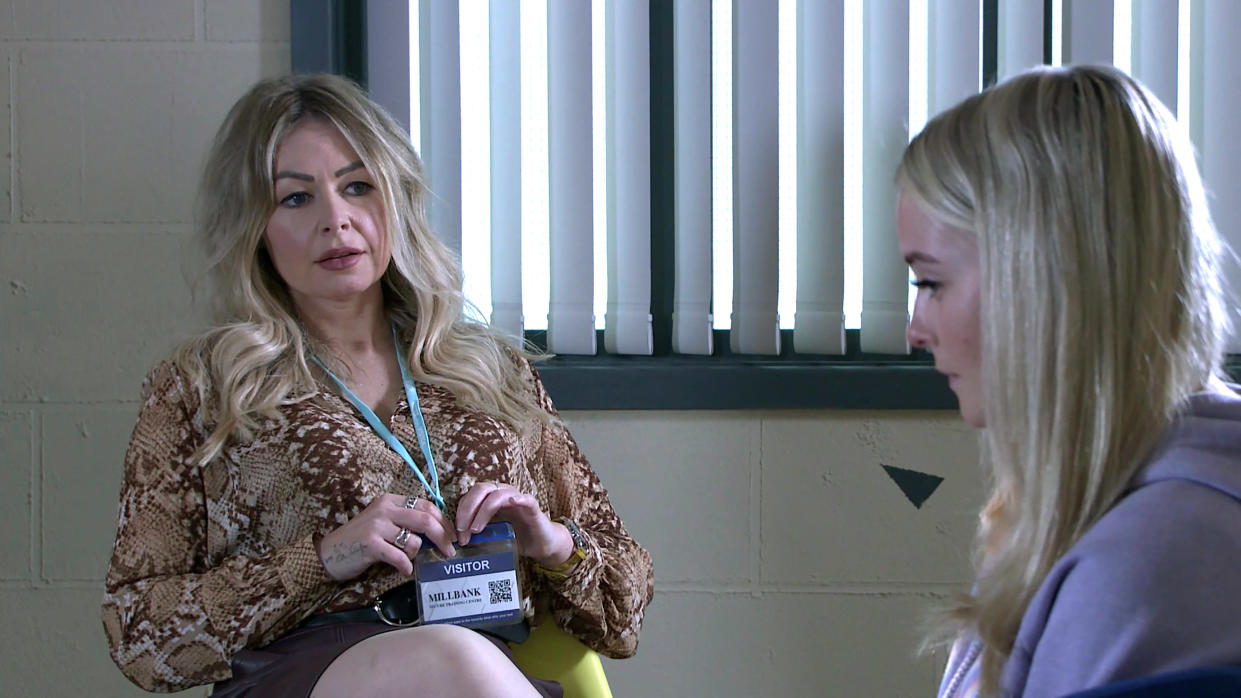 FROM ITV  STRICT EMBARGO - No Use before Tuesday 13th July 2021  Coronation Street - Ep 10383  Wednesday 21st July 2021 - 2nd Ep  In the prison visiting room, Laura Neelan [KEL ALLEN] quizzes Kelly Neelan [MILLIE GIBSON] about the night of the attack and assures her she can tell her anything.  Kelly admits she suffers from flashbacks,  Picture contact David.crook@itv.com   This photograph is (C) ITV Plc and can only be reproduced for editorial purposes directly in connection with the programme or event mentioned above, or ITV plc. Once made available by ITV plc Picture Desk, this photograph can be reproduced once only up until the transmission [TX] date and no reproduction fee will be charged. Any subsequent usage may incur a fee. This photograph must not be manipulated [excluding basic cropping] in a manner which alters the visual appearance of the person photographed deemed detrimental or inappropriate by ITV plc Picture Desk. This photograph must not be syndicated to any other company, publication or website, or permanently archived, without the express written permission of ITV Picture Desk. Full Terms and conditions are available on  www.itv.com/presscentre/itvpictures/terms