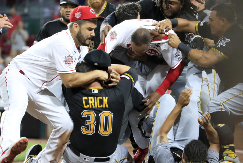 Amir Garrett started a mass brawl with the Pittsburgh Pirates bench. (Photo by Andy Lyons/Getty Images)