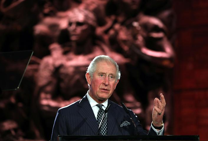 Britain's Prince Charles delivers a speech during the Fifth World Holocaust Forum at the Yad Vashem Holocaust memorial museum in Jerusalem on January 23, 2020. - World leaders travelled to Israel this week to mark 75 years since the Red Army liberated Auschwitz, the extermination camp where the Nazis killed over a million Jews. (Photo by Abir SULTAN / POOL / AFP) (Photo by ABIR SULTAN/POOL/AFP via Getty Images)