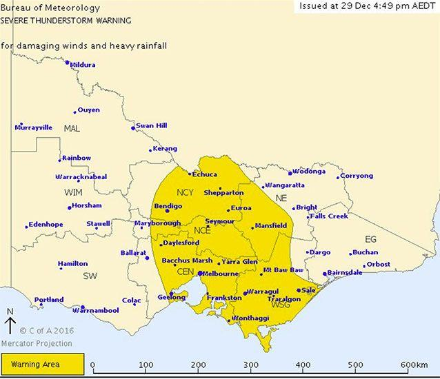 The Bureau of Meteorology has issued severe weather warnings for heavy rainfall and severe thunderstorm warnings across Victoria. Picture: Bureau of Meteorology
