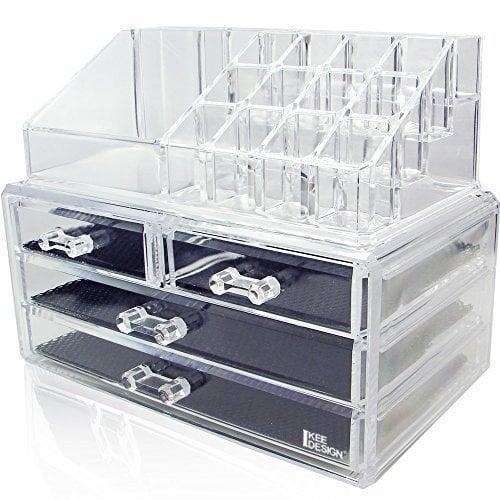"<p>A modern take on a classic jewelry box, the <a href=""https://www.popsugar.com/buy/Ikee-Design-Acrylic-Jewelry-Makeup-Cosmetic-Storage-Organizer-410870?p_name=Ikee%20Design%20Acrylic%20Jewelry%20Makeup%20Cosmetic%20Storage%20Organizer&retailer=amazon.com&pid=410870&price=15&evar1=casa%3Aus&evar9=45752594&evar98=https%3A%2F%2Fwww.popsugar.com%2Fhome%2Fphoto-gallery%2F45752594%2Fimage%2F45753850%2FMakeup-Jewelry&list1=amazon%2Caccessories%2Corganization%2Cstorage%20tips%2Chome%20organization&prop13=mobile&pdata=1"" class=""link rapid-noclick-resp"" rel=""nofollow noopener"" target=""_blank"" data-ylk=""slk:Ikee Design Acrylic Jewelry Makeup Cosmetic Storage Organizer"">Ikee Design Acrylic Jewelry Makeup Cosmetic Storage Organizer</a> ($15) is both functional and aesthetically pleasing. The lined drawers keep jewelry in place while the top section can hold up to 12 lipsticks and other makeup products - ideal for your bathroom countertop!</p>"